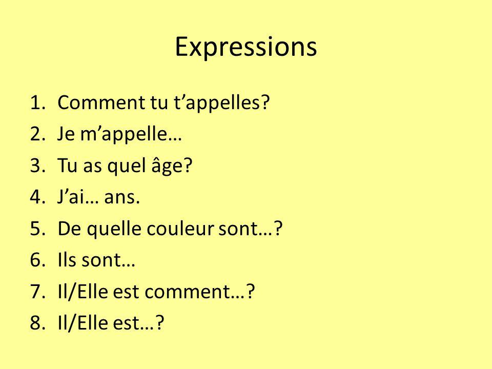 Expressions 1.Comment tu tappelles.2.Je mappelle… 3.Tu as quel âge.