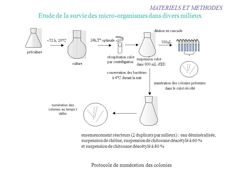 MATERIELS ET METHODES Etude de la survie des micro-organismes dans divers milieux Protocole de numération des colonies ensemencement réacteurs (2 dupl