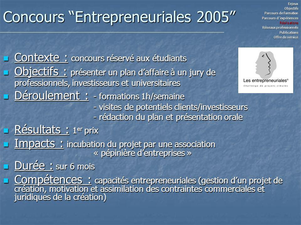 Concours Entrepreneuriales 2005 Contexte : concours réservé aux étudiants Contexte : concours réservé aux étudiants Objectifs : présenter un plan daff