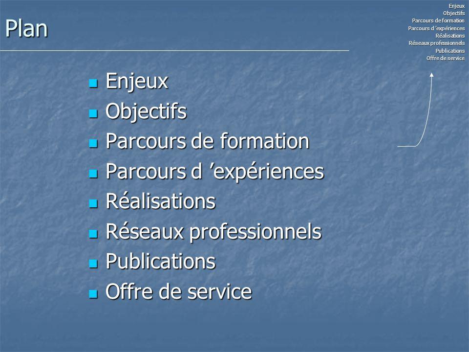 Plan Enjeux Enjeux Objectifs Objectifs Parcours de formation Parcours de formation Parcours d expériences Parcours d expériences Réalisations Réalisat