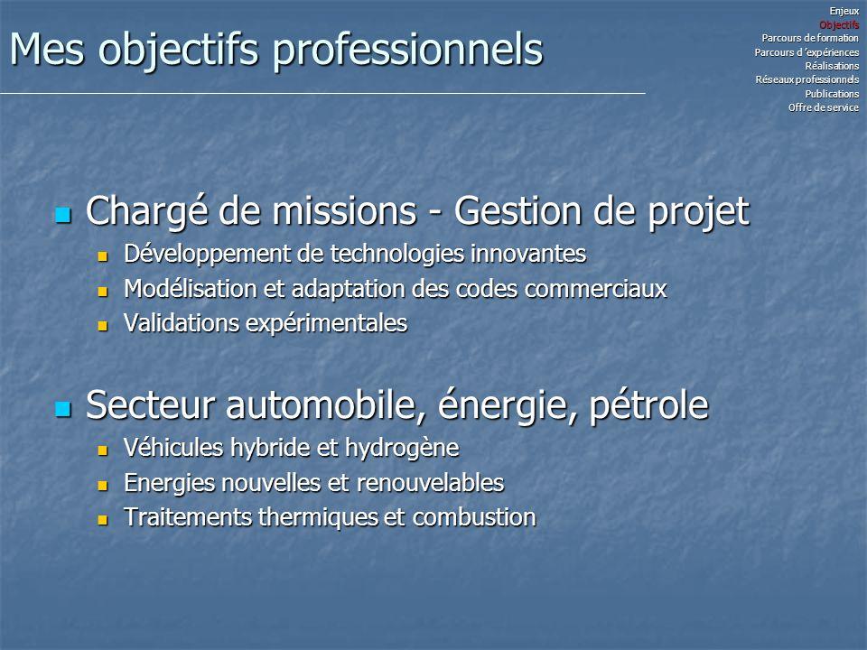 Mon parcours de formation Doctorat Energétique ( fin 2006) Doctorat Energétique ( fin 2006) Ecole des Mines de Nantes et Valéo Systèmes Thermiques Ecole des Mines de Nantes et Valéo Systèmes Thermiques Optimisation des systèmes de conforts additionnels Optimisation des systèmes de conforts additionnels Modélisation de la combustion et des organes moteur Modélisation de la combustion et des organes moteur Master Recherche (2003) Master Recherche (2003) Ecole des Mines de Nantes Ecole des Mines de Nantes Etude de la combustion des gaz pauvres en moteur dual-fuel Etude de la combustion des gaz pauvres en moteur dual-fuel Ingénieur Thermique - Energétique (2003) Ingénieur Thermique - Energétique (2003) Ecole Polytechnique Université de Nantes Ecole Polytechnique Université de Nantes Thermodynamique, Transferts thermiques, Mécanique des fluides, Modélisation numérique, Conception mécanique, Thermomécanique et Machines thermiques Thermodynamique, Transferts thermiques, Mécanique des fluides, Modélisation numérique, Conception mécanique, Thermomécanique et Machines thermiquesEnjeuxObjectifs Parcours de formation Parcours d expériences Réalisations Réseaux professionnels Publications Offre de service