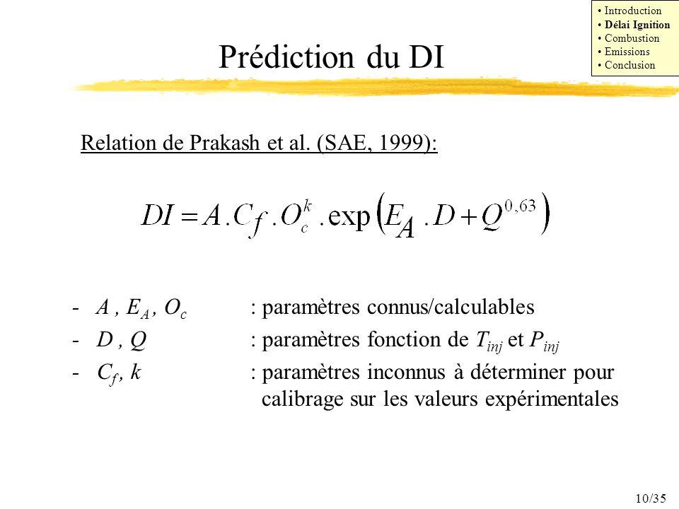 10/35 Relation de Prakash et al. (SAE, 1999): - A, E A, O c : paramètres connus/calculables - D, Q : paramètres fonction de T inj et P inj - C f, k :