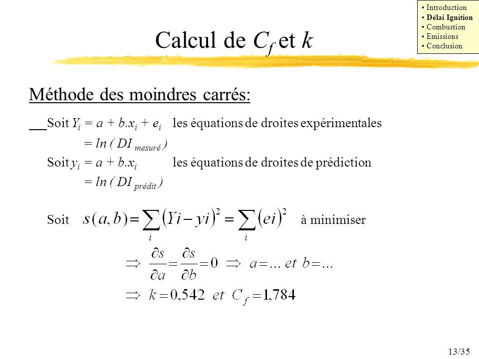 13/35 Calcul de C f et k Méthode des moindres carrés: Soit Y i = a + b.x i + e i les équations de droites expérimentales = ln ( DI mesuré ) Soit y i =