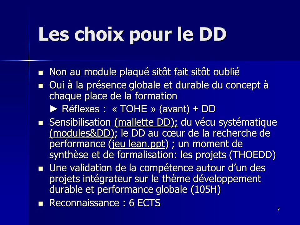 7 Les choix pour le DD Non au module plaqué sitôt fait sitôt oublié Non au module plaqué sitôt fait sitôt oublié Oui à la présence globale et durable