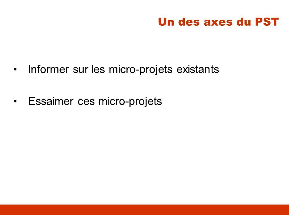 Informer sur les micro-projets existants Essaimer ces micro-projets Un des axes du PST