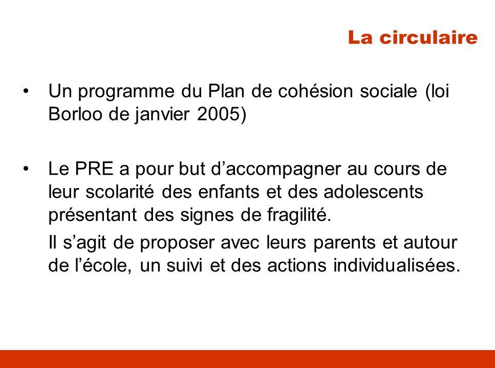 Un programme du Plan de cohésion sociale (loi Borloo de janvier 2005) Le PRE a pour but daccompagner au cours de leur scolarité des enfants et des ado