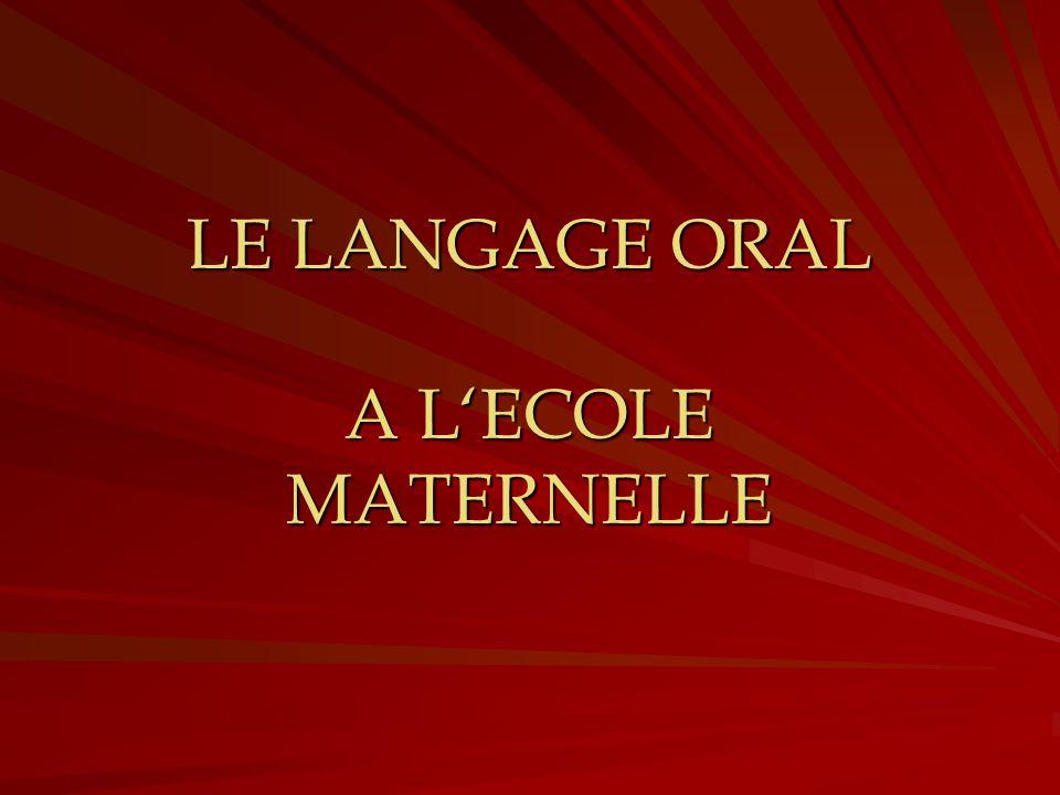 LE LANGAGE ORAL A LECOLE MATERNELLE