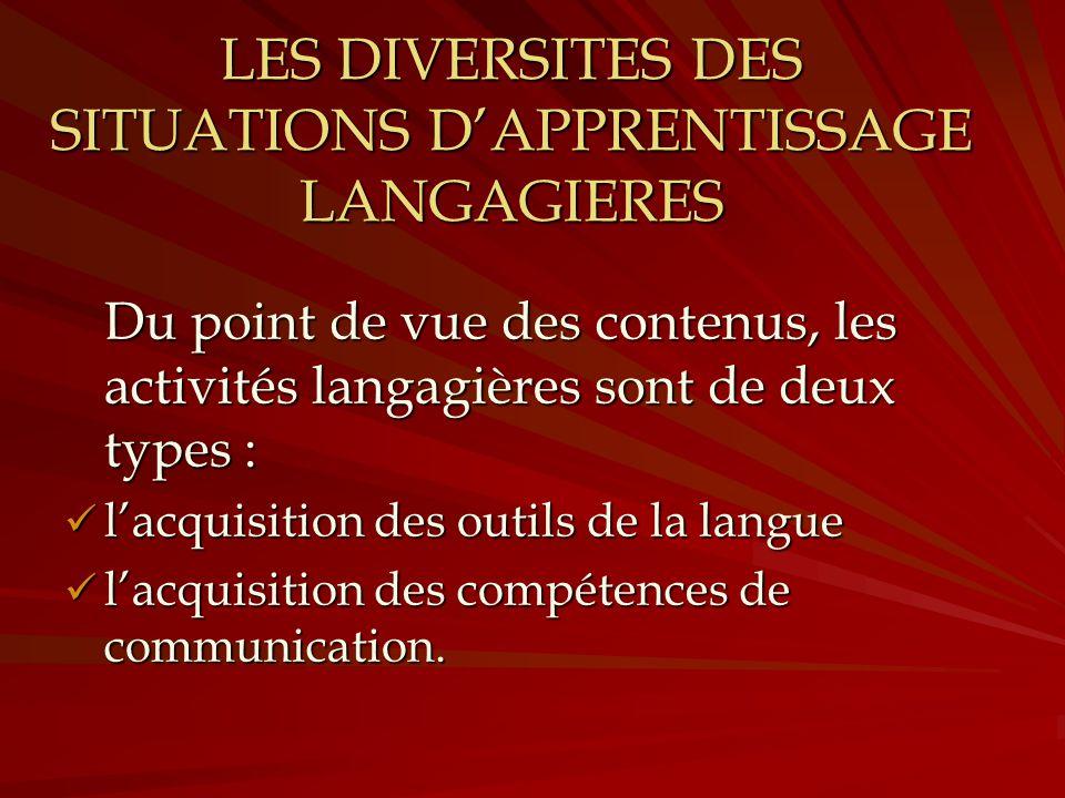 LES DIVERSITES DES SITUATIONS DAPPRENTISSAGE LANGAGIERES Du point de vue des contenus, les activités langagières sont de deux types : lacquisition des