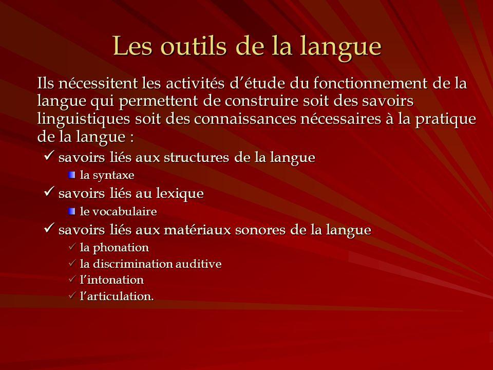 Les outils de la langue Ils nécessitent les activités détude du fonctionnement de la langue qui permettent de construire soit des savoirs linguistique
