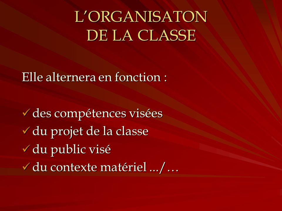 LORGANISATON DE LA CLASSE Elle alternera en fonction : des compétences visées du projet de la classe du public visé du contexte matériel.../…