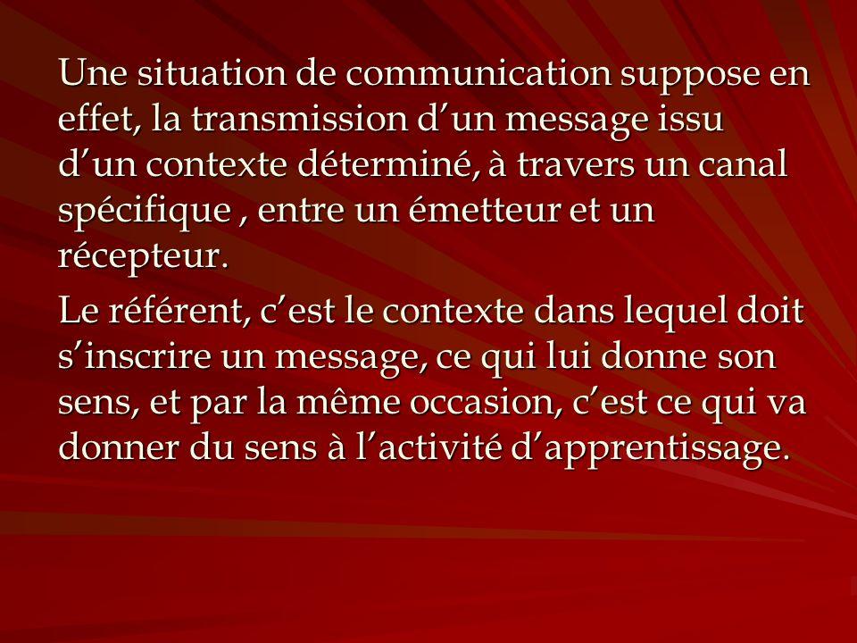 Une situation de communication suppose en effet, la transmission dun message issu dun contexte déterminé, à travers un canal spécifique, entre un émet