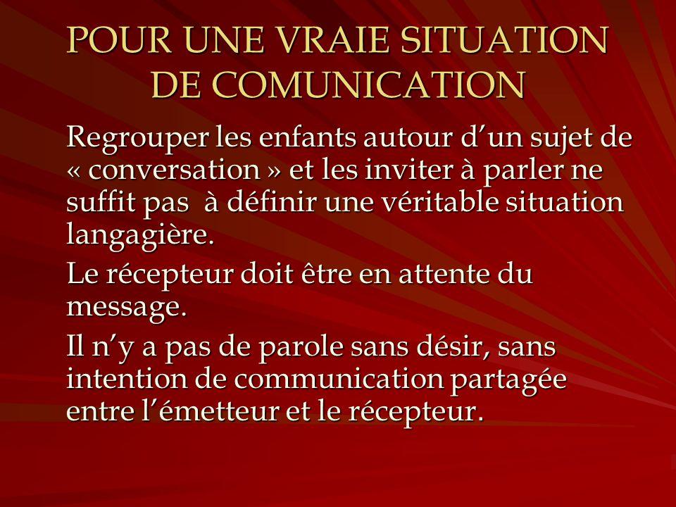 POUR UNE VRAIE SITUATION DE COMUNICATION Regrouper les enfants autour dun sujet de « conversation » et les inviter à parler ne suffit pas à définir un
