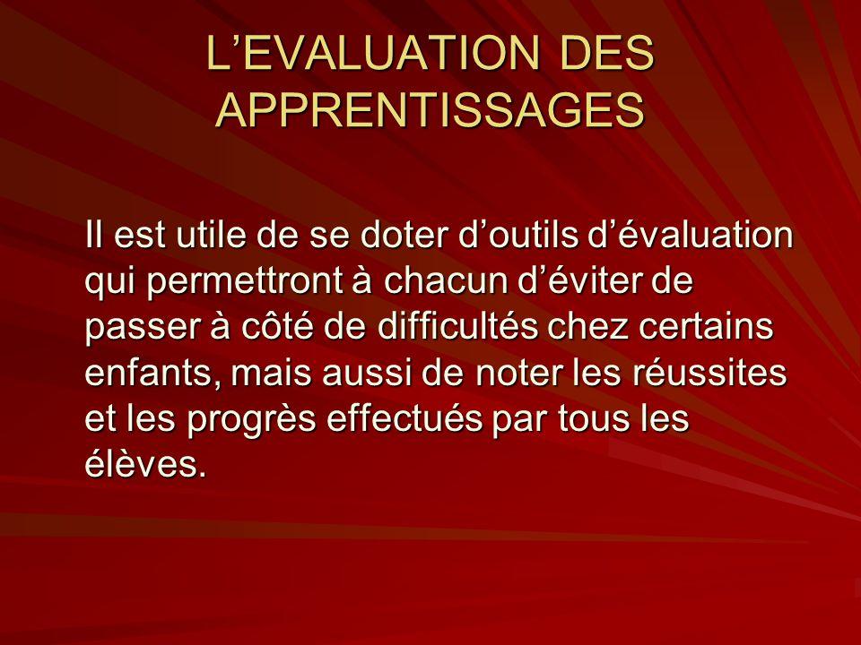 LEVALUATION DES APPRENTISSAGES Il est utile de se doter doutils dévaluation qui permettront à chacun déviter de passer à côté de difficultés chez cert