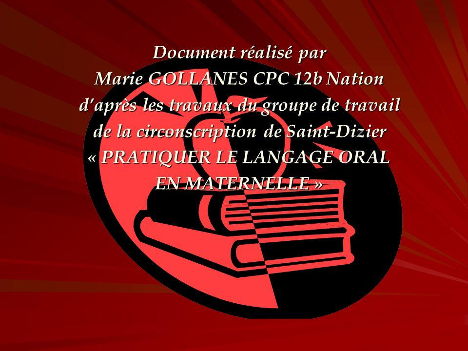 Document réalisé par Marie GOLLANES CPC 12b Nation daprès les travaux du groupe de travail de la circonscription de Saint-Dizier « PRATIQUER LE LANGAG