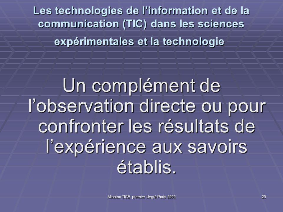 Mission TICE premier degré Paris 200525 Les technologies de linformation et de la communication (TIC) dans les sciences expérimentales et la technolog