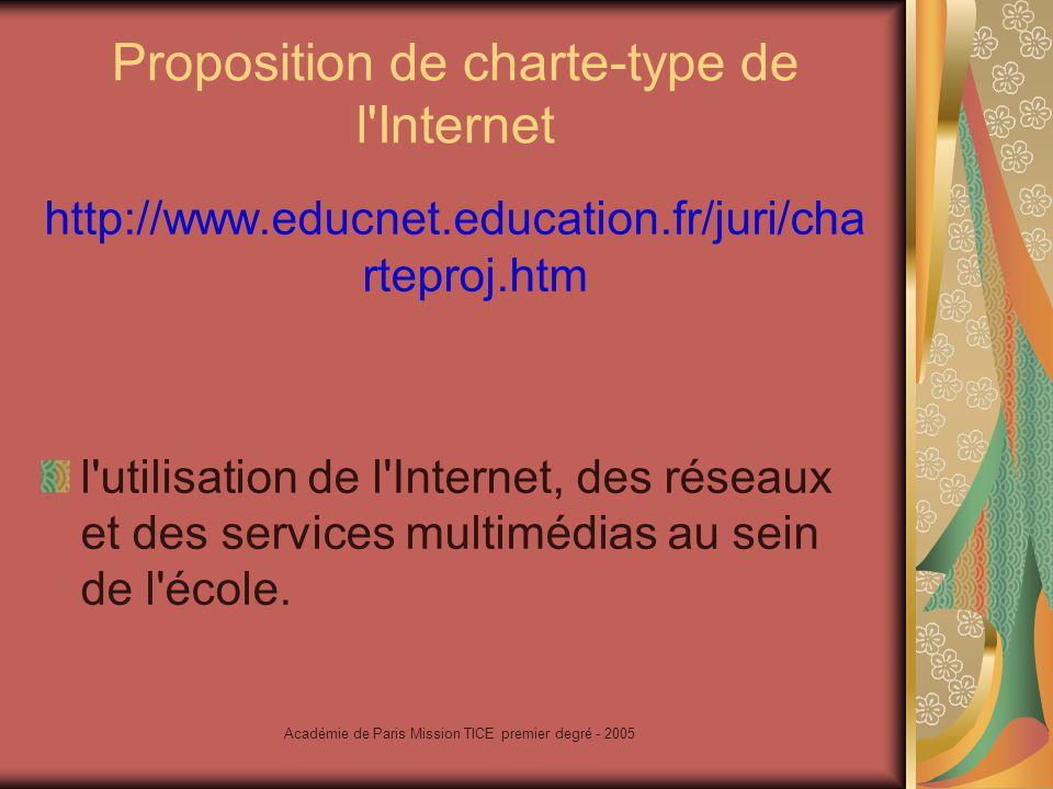 Académie de Paris Mission TICE premier degré - 2005 Protection des mineurs www.mineurs.fr Le site de la Délégation aux usages de l Internet.