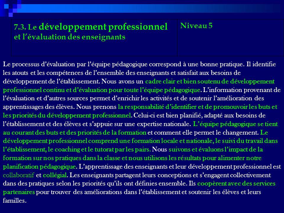 7.3. Le développement professionnel et lévaluation des enseignants Niveau 5 Le processus dévaluation par léquipe pédagogique correspond à une bonne pr