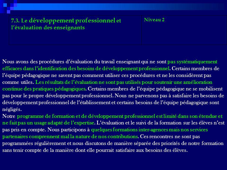 7.3. Le développement professionnel et lévaluation des enseignants Niveau 2 Nous avons des procédures dévaluation du travail enseignant qui ne sont pa