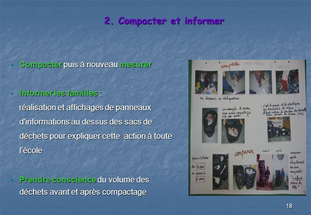 18 2. Compacter et informer Compacter puis à nouveau mesurer Compacter puis à nouveau mesurer Informer les familles : Informer les familles : réalisat