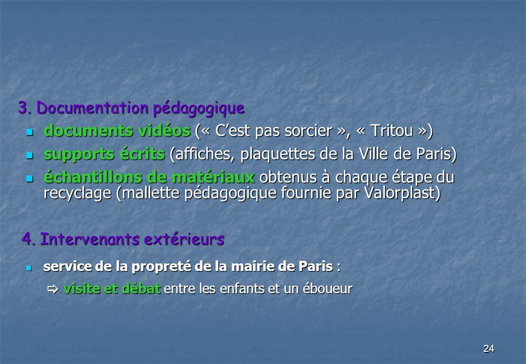 24 3. Documentation pédagogique documents vidéos (« Cest pas sorcier », « Tritou ») documents vidéos (« Cest pas sorcier », « Tritou ») supports écrit