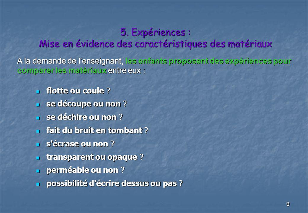 9 5.Expériences : Mise en évidence des caractéristiques des matériaux flotte ou coule .