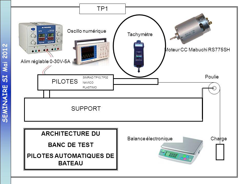 SUPPORT PILOTES Poulie Charge Alim réglable 0-30V-5A Tachymètre Balance électronique ARCHITECTURE DU BANC DE TEST PILOTES AUTOMATIQUES DE BATEAU SIMRA