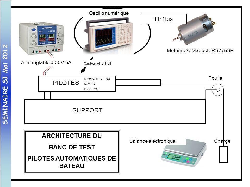 SUPPORT PILOTES Poulie Charge Alim réglable 0-30V-5A Balance électronique ARCHITECTURE DU BANC DE TEST PILOTES AUTOMATIQUES DE BATEAU SIMRAD TP10,TP32