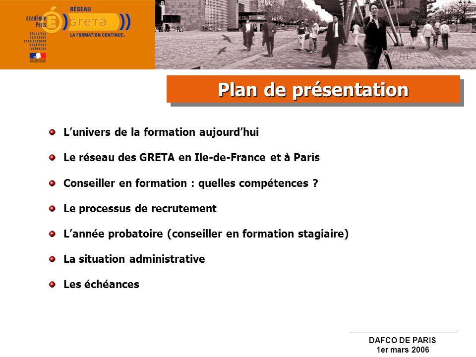 DAFCO DE PARIS 1er mars 2006 1.Sélection sur dossier 2.Entretien de recrutement 3.Inscription sur la liste daptitude 4.Affectation en fonction des postes disponibles Le recrutement Le recrutement Le recrutement Le recrutement