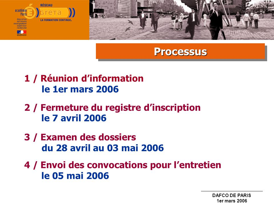 DAFCO DE PARIS 1er mars 2006 1 / Réunion dinformation le 1er mars 2006 2 / Fermeture du registre dinscription le 7 avril 2006 3 / Examen des dossiers