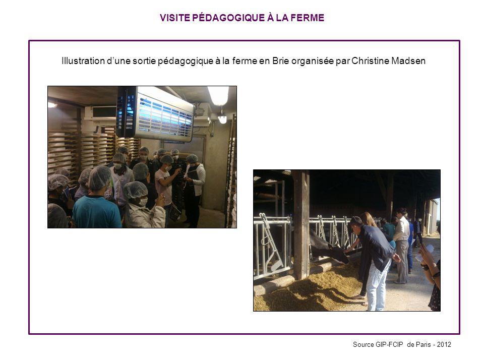 VISITE PÉDAGOGIQUE À LA FERME Illustration dune sortie pédagogique à la ferme en Brie organisée par Christine Madsen Source GIP-FCIP de Paris - 2012