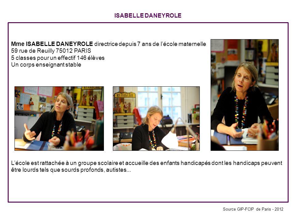 ISABELLE DANEYROLE Mme ISABELLE DANEYROLE directrice depuis 7 ans de lécole maternelle 59 rue de Reuilly 75012 PARIS 5 classes pour un effectif 146 él