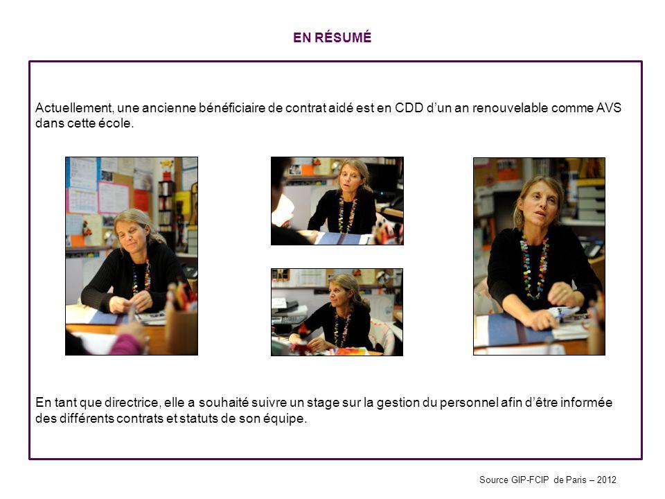 EN RÉSUMÉ Actuellement, une ancienne bénéficiaire de contrat aidé est en CDD dun an renouvelable comme AVS dans cette école. En tant que directrice, e