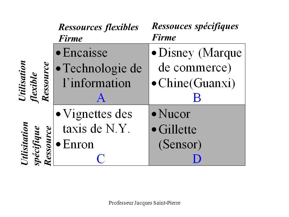 Professeur Jacques Saint-Pierre Ressources flexibles Firme Ressouces spécifiques Firme Utilisation flexible Ressource Utlisitation spécifique Ressource