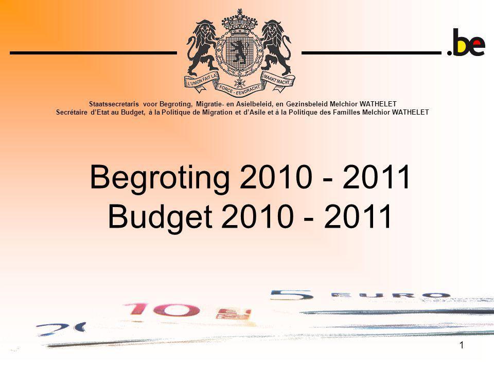 2 Begroting 2010 - 11 Budget 2010 - 11 I.Macro-economische context I.