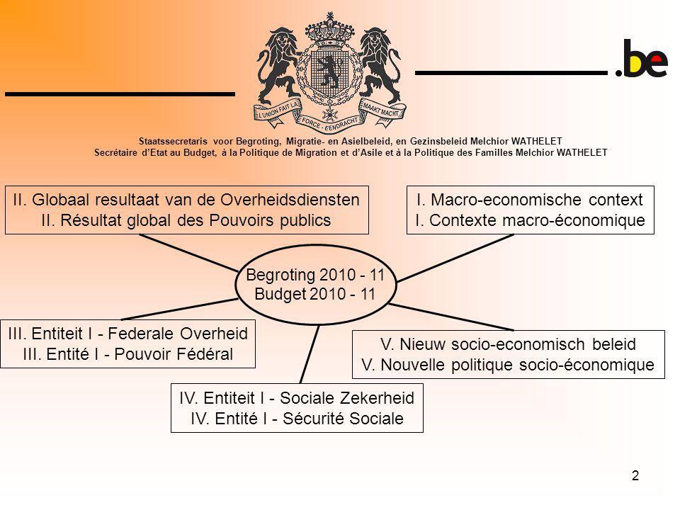 2 Begroting 2010 - 11 Budget 2010 - 11 I. Macro-economische context I.