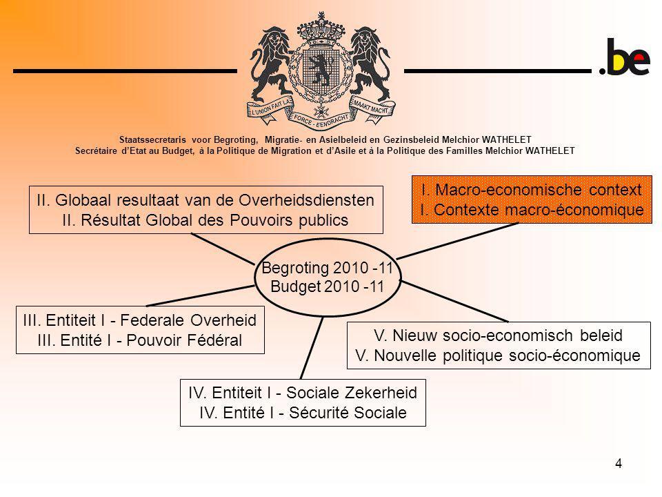 4 Begroting 2010 -11 Budget 2010 -11 I. Macro-economische context I.