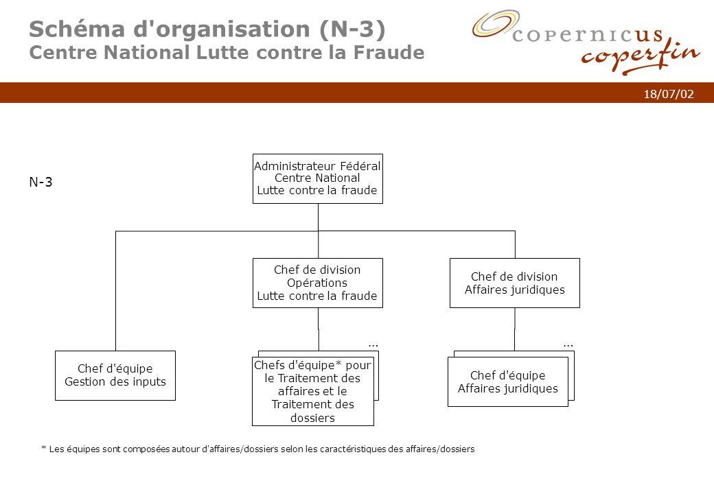 p. 5Titel van de presentatie 18/07/02 Schéma d'organisation (N-3) Centre National Lutte contre la Fraude N-3 Chef de division Opérations Lutte contre