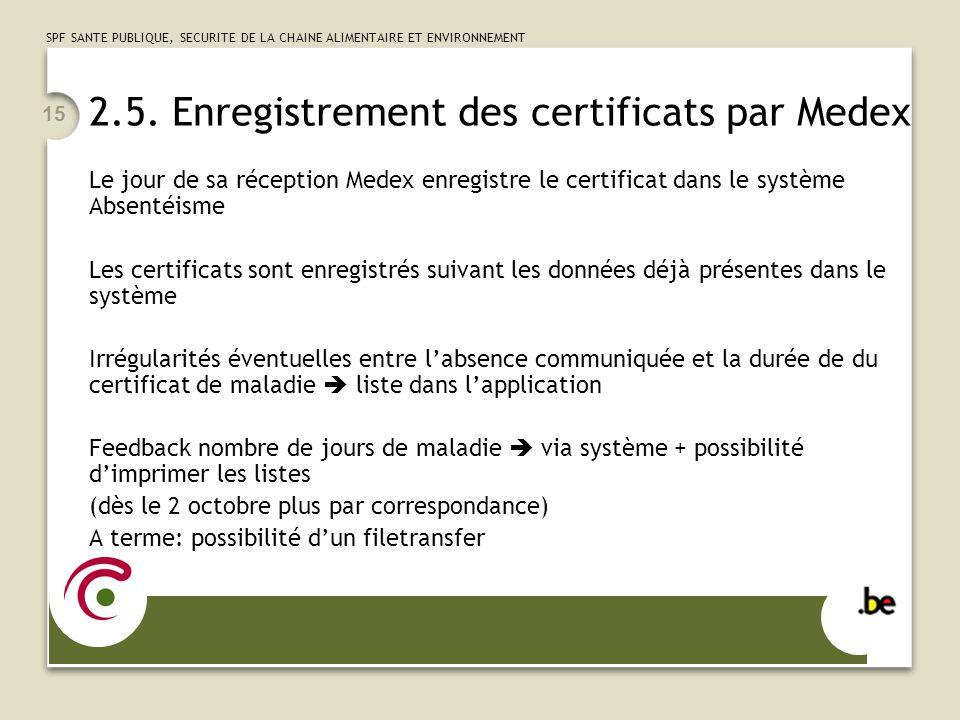 SPF SANTE PUBLIQUE, SECURITE DE LA CHAINE ALIMENTAIRE ET ENVIRONNEMENT 15 2.5. Enregistrement des certificats par Medex Le jour de sa réception Medex