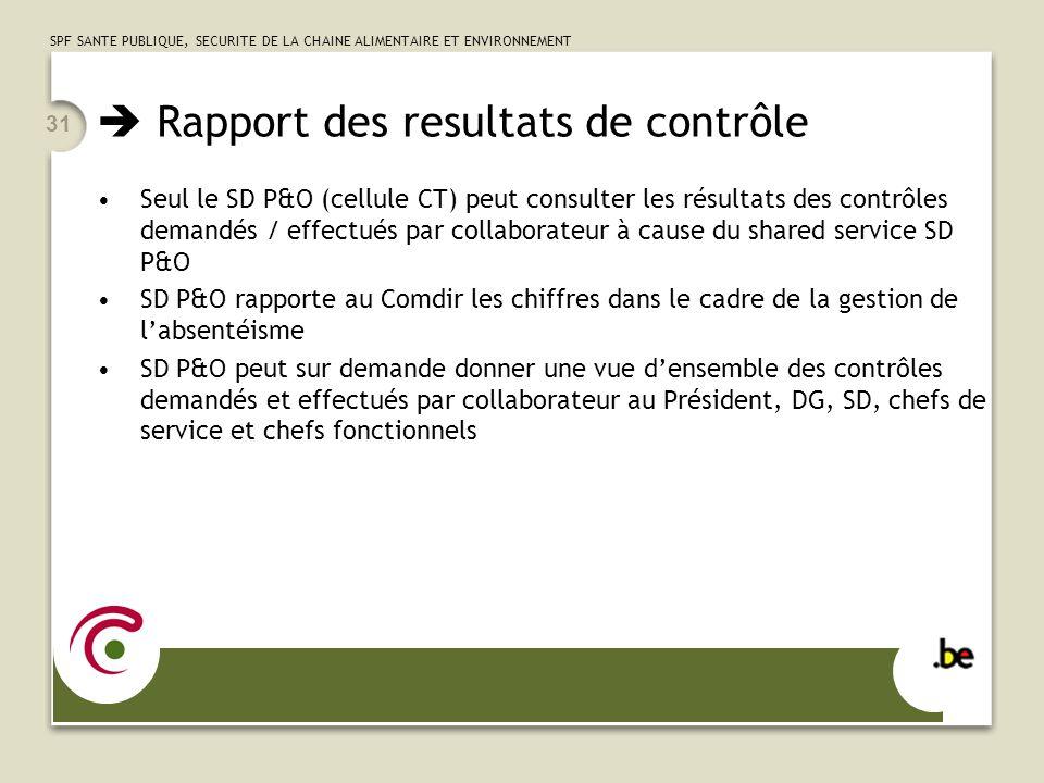 SPF SANTE PUBLIQUE, SECURITE DE LA CHAINE ALIMENTAIRE ET ENVIRONNEMENT 31 Rapport des resultats de contrôle Seul le SD P&O (cellule CT) peut consulter