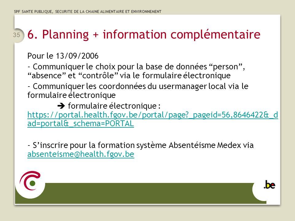 SPF SANTE PUBLIQUE, SECURITE DE LA CHAINE ALIMENTAIRE ET ENVIRONNEMENT 35 6. Planning + information complémentaire Pour le 13/09/2006 - Communiquer le