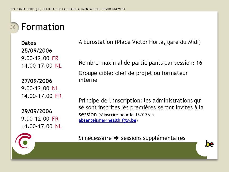 SPF SANTE PUBLIQUE, SECURITE DE LA CHAINE ALIMENTAIRE ET ENVIRONNEMENT 36 Formation Dates 25/09/2006 9.00-12.00 FR 14.00-17.00 NL 27/09/2006 9.00-12.0