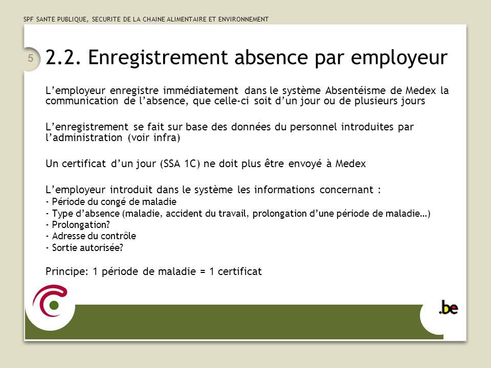 SPF SANTE PUBLIQUE, SECURITE DE LA CHAINE ALIMENTAIRE ET ENVIRONNEMENT 5 2.2. Enregistrement absence par employeur Lemployeur enregistre immédiatement