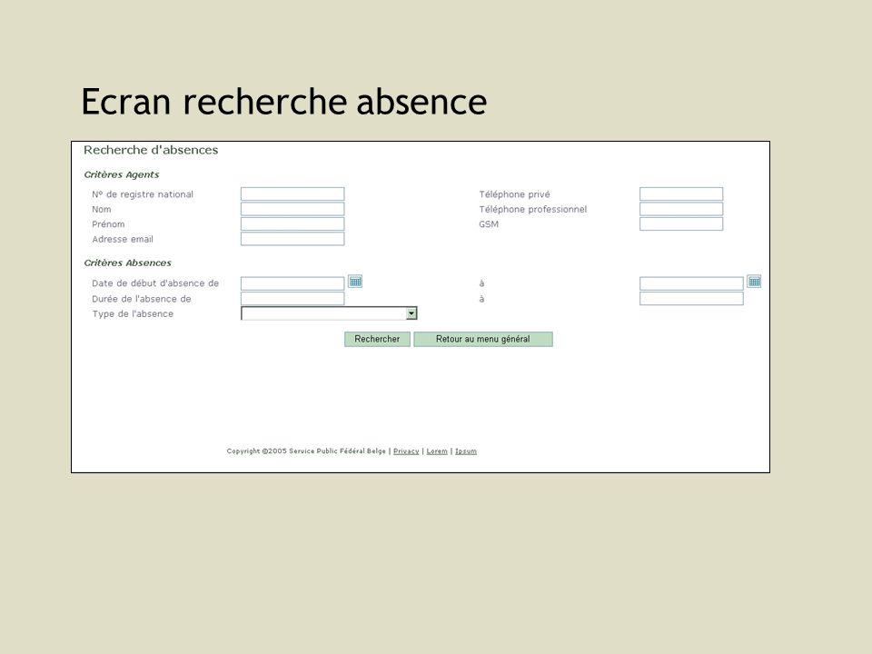 Ecran recherche absence