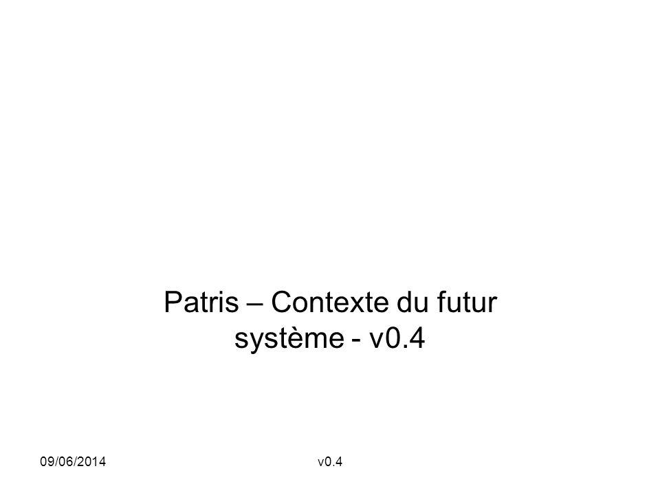 09/06/2014v0.4 Patris – Contexte du futur système - v0.4