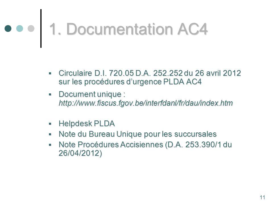 11 1.Documentation AC4 Circulaire D.I. 720.05 D.A.