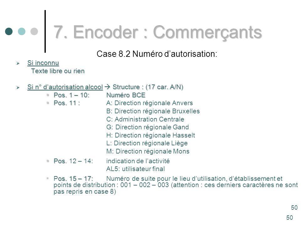 50 Case 8.2 Numéro dautorisation: Si inconnu Si inconnu Texte libre ou rien Si n° dautorisation alcool Structure : (17 car.