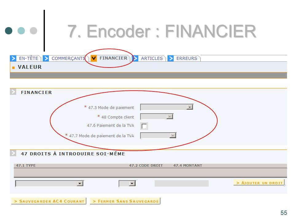 55 7. Encoder : FINANCIER 55