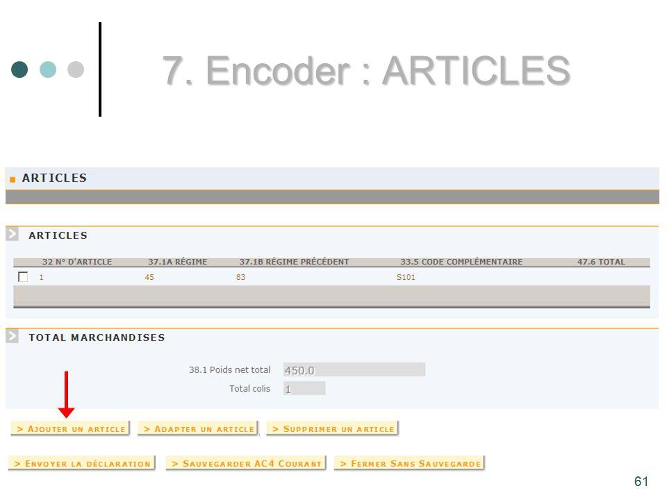 61 7. Encoder : ARTICLES 61