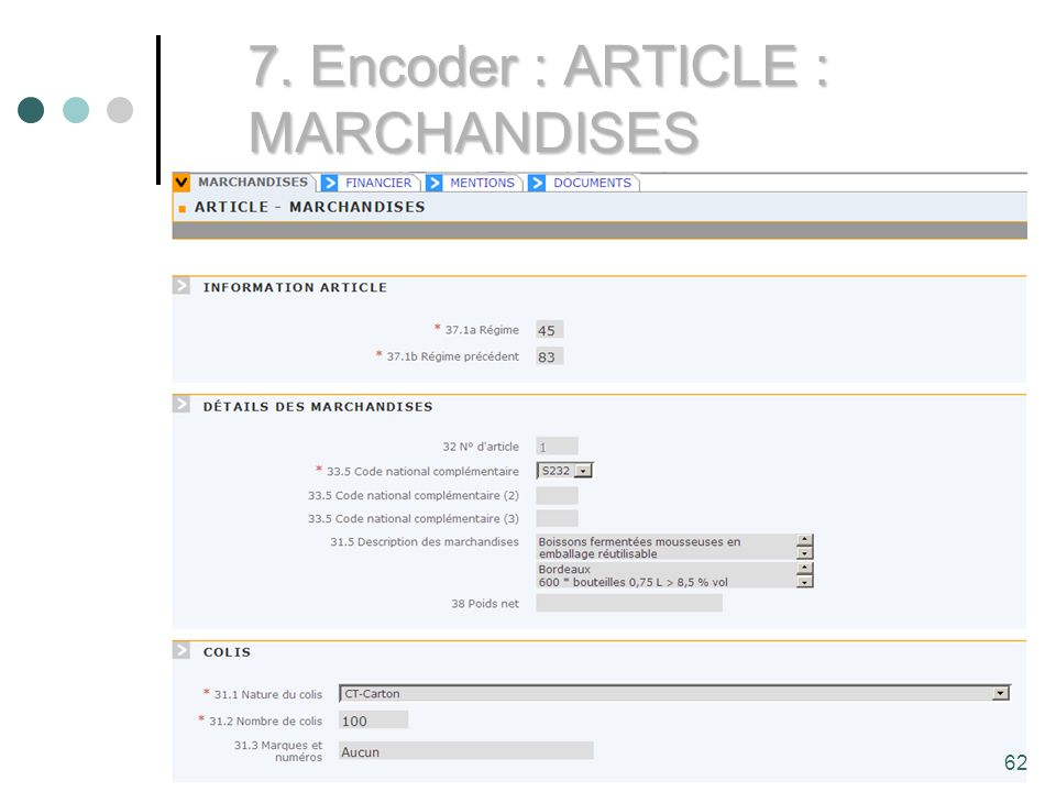 62 7. Encoder : ARTICLE : MARCHANDISES 62