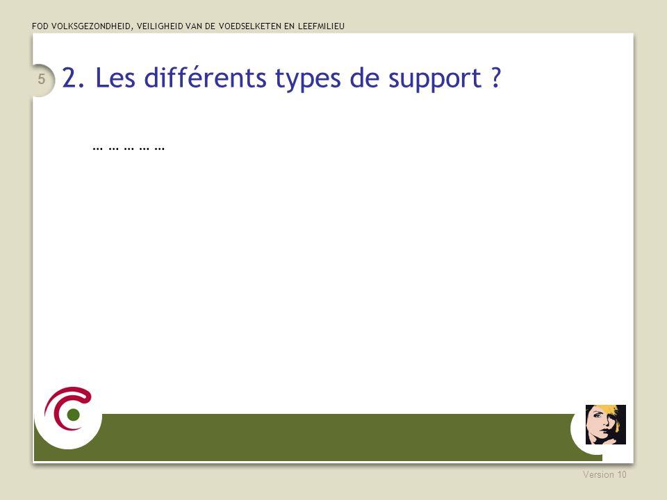 FOD VOLKSGEZONDHEID, VEILIGHEID VAN DE VOEDSELKETEN EN LEEFMILIEU Version 10 5 2. Les différents types de support ? … … … … …